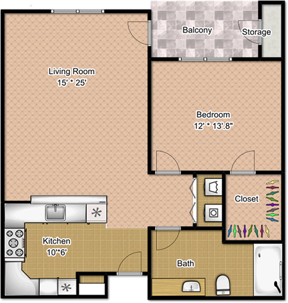 Spirit - One Bedroom / One Bath - 820 Sq. Ft.*